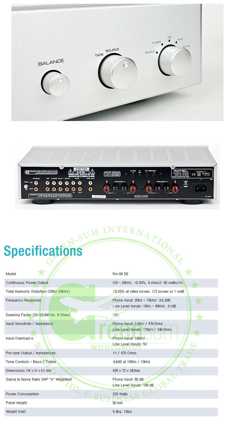 New ROTEL RA-04SE Integrated Amplifier + Worldwide Free ...