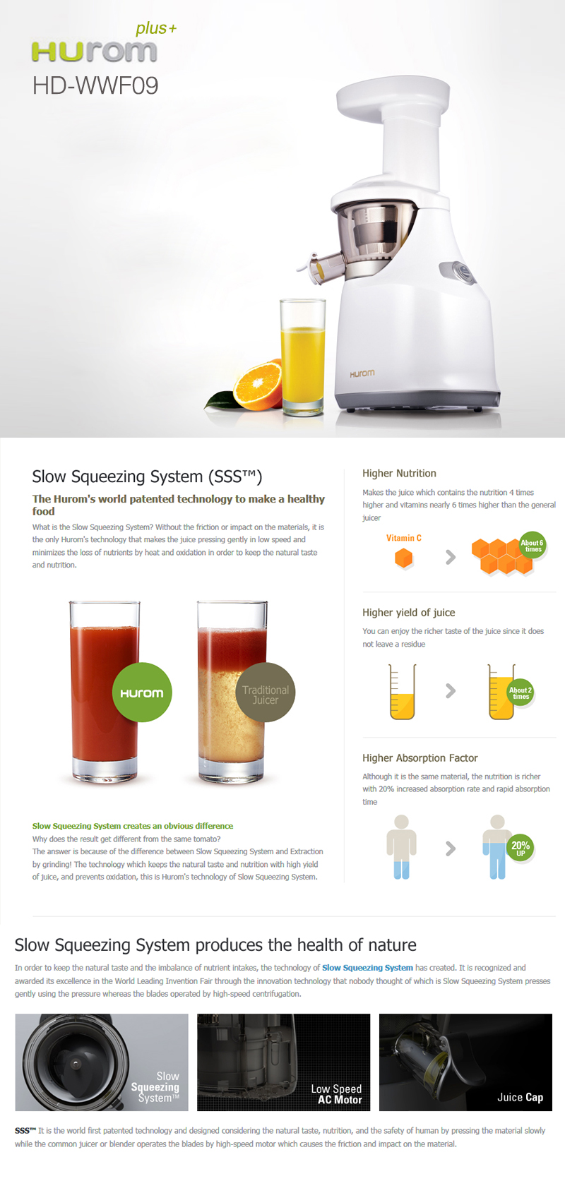 The Best Slow Juice Extractor : New HUROM HD-WWF09 Slow Juicer Extractor Fruit vegetable Citrus + Free Express eBay