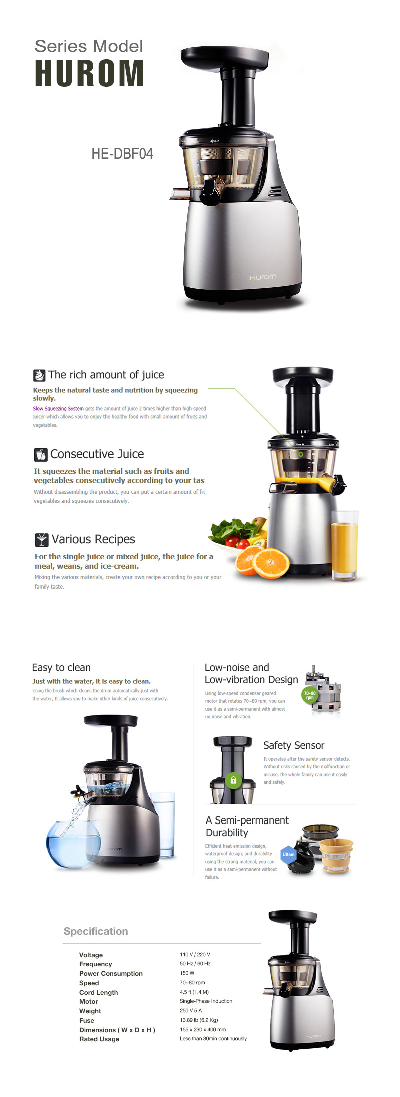 The Best Slow Juice Extractor : New HUROM HE-DBF04 Slow Juicer Extractor Fruit vegetable Citrus + Free Express eBay