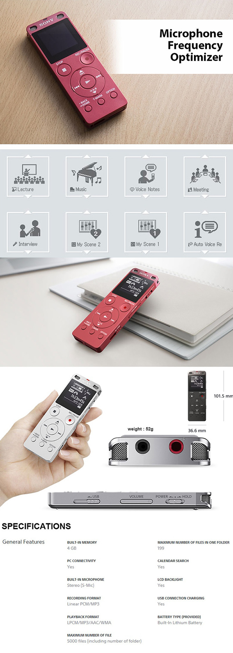 Sony Icd Ux560f 4gb Ux Series Digital Voice Recorder Daftar Harga Tx800 Tx Stereo Ic Mp3