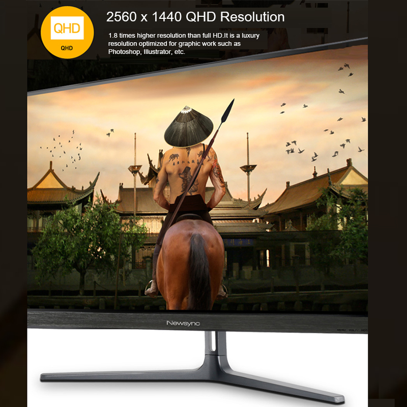 NEWSYNC 27 inch Real 165Hz (DP 1 2) 144Hz (HDMI 2 0) 1ms 1440p QHD Gaming  Monitor (AMD FreeSync, Crosshair Target, Flicker-Free, Low Blue Light, HDR,